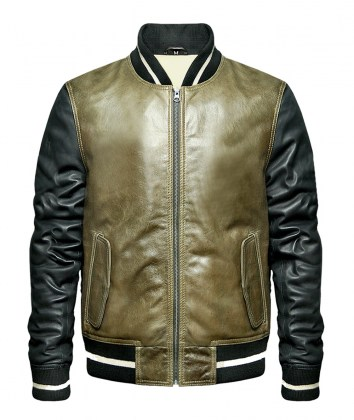 f9a6c071c Olive Green Leather Bomber Jacket